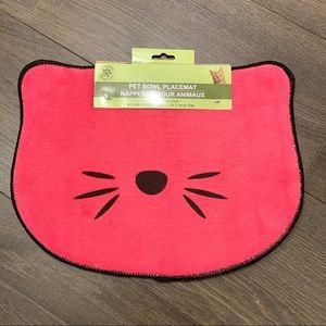 Pet food bowl placemat pink dogs cats
